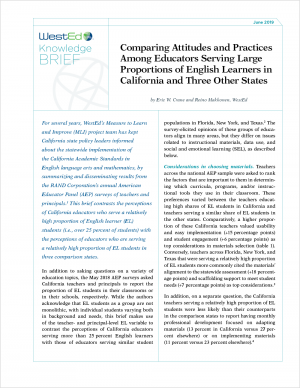 Comparing Attitudes and Practices Among Educators Serving Large Proportions of English Learners in California and Three Other States