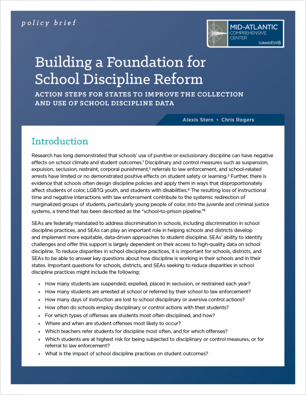 Building a Foundation for School Discipline Reform: Action Steps for States to Improve the Collection and Use of Data on School Discipline