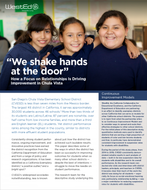 """""""We Shake Hands at the Door"""": How a Focus on Relationships Is Driving Improvement in Chula Vista"""