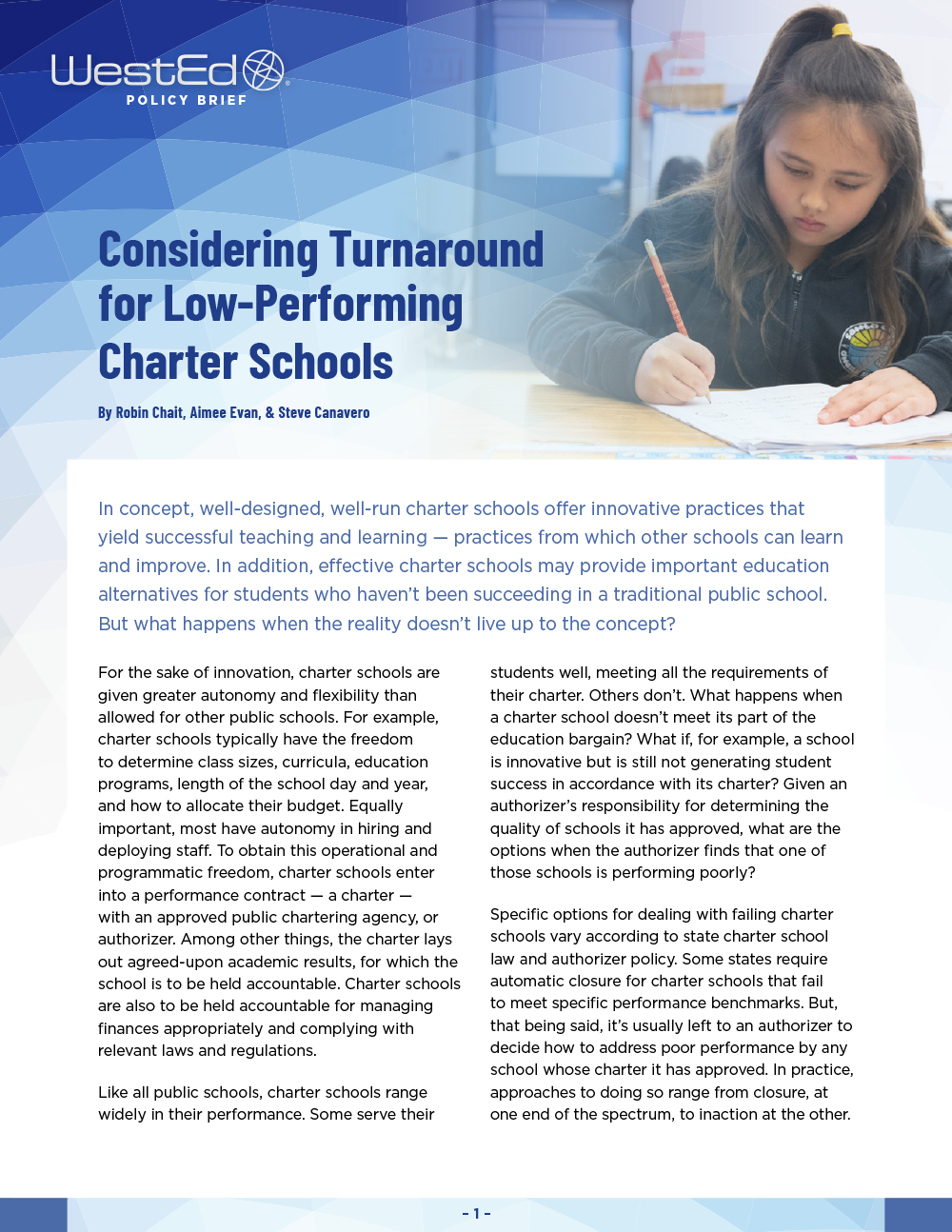 Considering Turnaround for Low-Performing Charter Schools