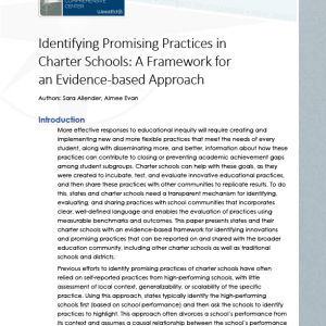 Identifying Promising Practices in Charter Schools: A Framework for an Evidence-Based Approach