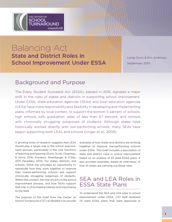 Balancing Act: State and District Roles in School Improvement Under ESSA