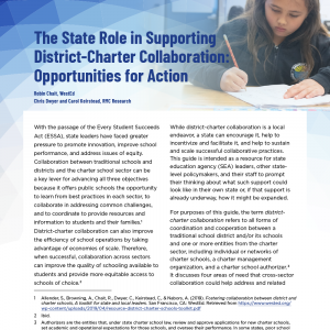 The State Role in Supporting District-Charter Collaboration: Opportunities for Action