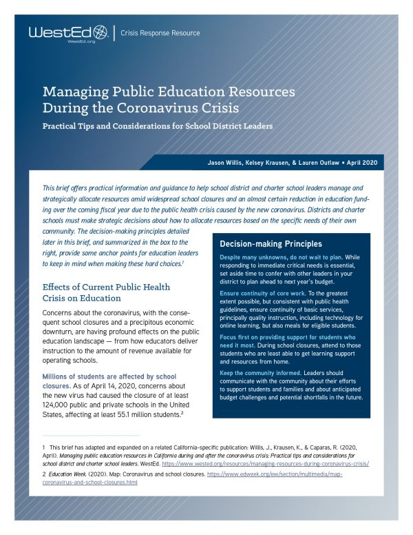 Cover - Managing Public Education Resources During the Coronavirus Crisis