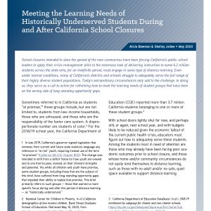 Meeting the Learning Needs of Historically Underserved Students