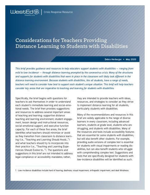 Resource-Considerations for Teachers Providing Distance Learning to Students with Disabilities