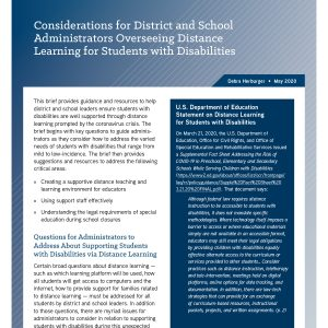 Considerations for District and School Administrators Overseeing Distance Learning for Sudents with Disabilities