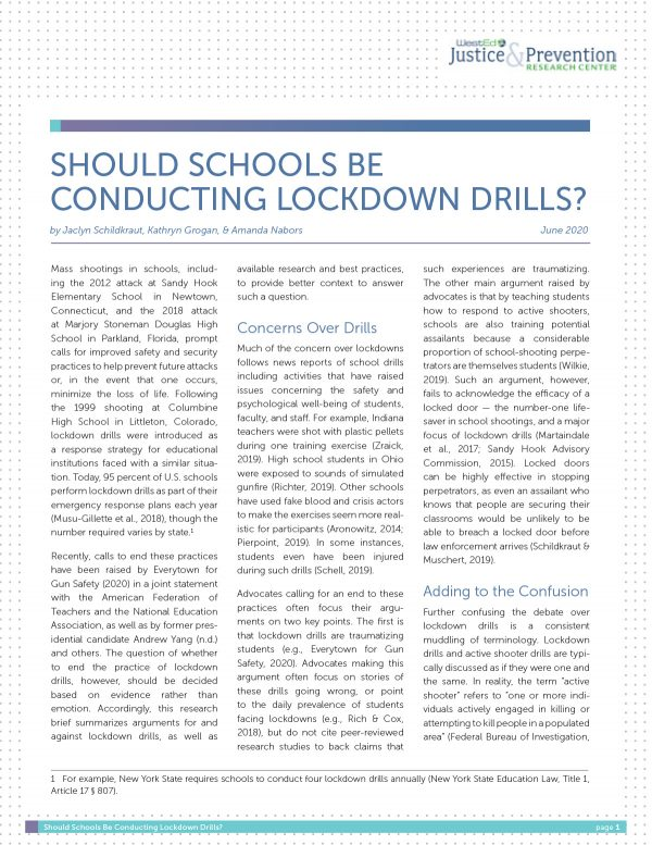 Should Schools be Conducting Lockdown Drills?