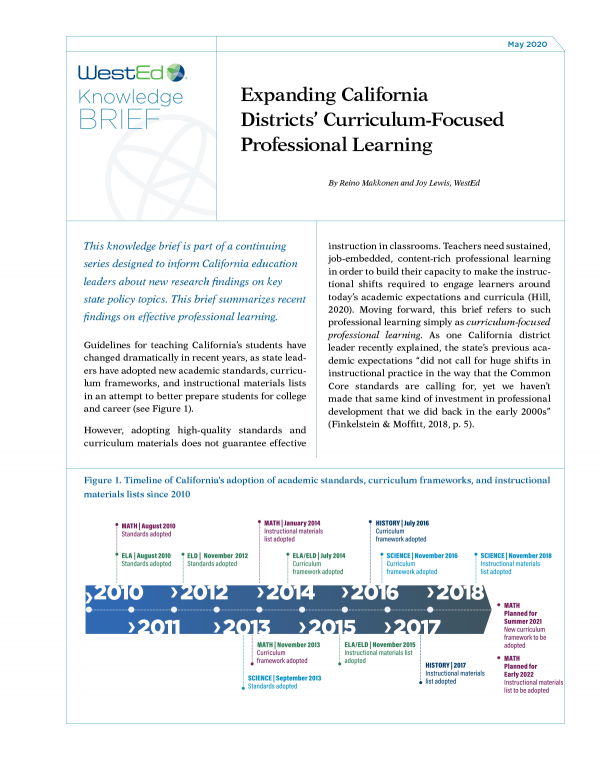 Expanding California Districts' Curriculum-Focused Professional Learning