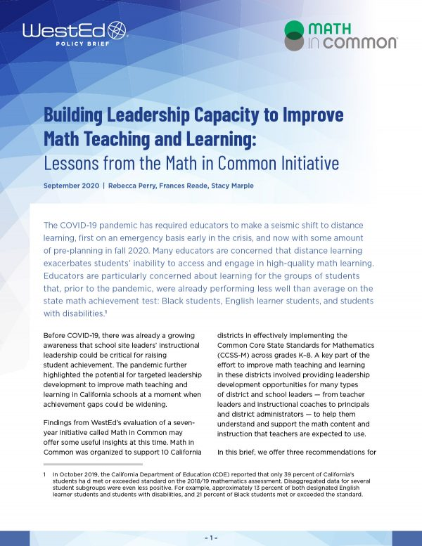 Building Leadership Capacity to Improve Math Teaching and Learning