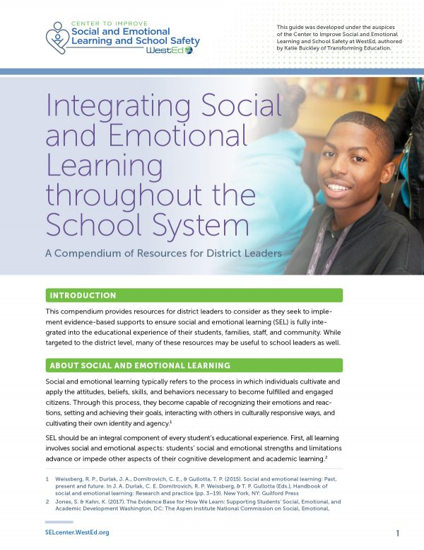 Integrating Social and Emotional Learning throughout the School System