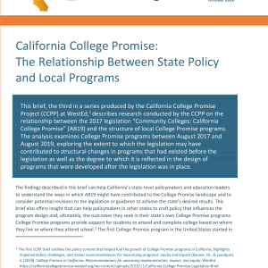 California College Promise: The Relationship Between State Policy and Local Programs