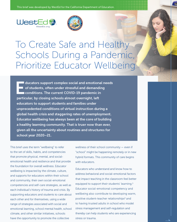 To Create Safe and Healthy Schools During a Pandemic, Prioritize Educator Wellbeing