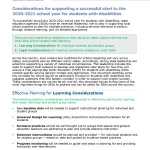NCSI, Considerations for supporting a successful start to the 2020-2021 school year for students with disabilities