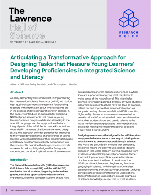 The Lawrence Hall of Science Research Brief: Articulating a Transformative Approach for Designing Tasks that Measure Young Learners' Developing Proficiencies in Integrated Science and Literacy