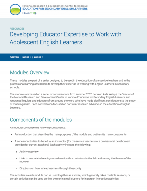 Developing Educator Expertise to Work with Adolescent English Learners