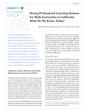 Knowledge Brief July 2021: Strong Professional Learning Systems for Math Instruction in California: What Do We Know Today?