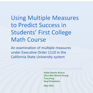 Using Multiple Measures to Predict Success in Students' First College Math Course Cover