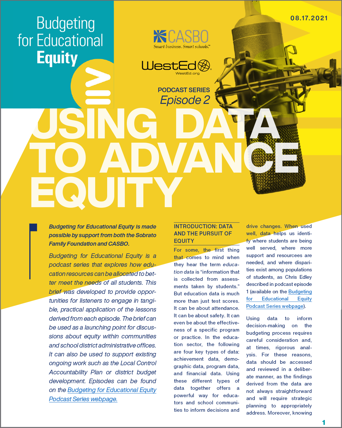 CASBO Podcast, Episode 2, Using Data to Advance Equity