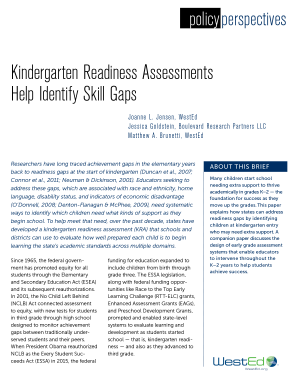 Policy Perspectives: Kindergarten Readiness Assessments Help Identify Skill Gaps