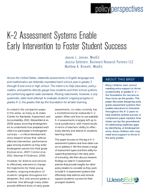 Policy Perspectives: K-2 Assessement Systems Enable Early Intervention to Foster Student Success