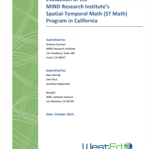 Cover image for Evaluation of the MIND Research Institute's Spatial-Temporal Math (ST Math) Program in California