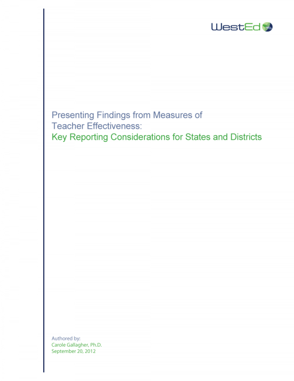 Cover image of Presenting Findings from Measures of Teacher Effectiveness