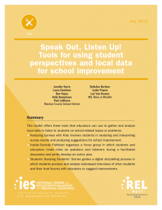 Cover for Speak Out, Listen Up! Tools For Using Student Perspectives and Local Data for School Improvement