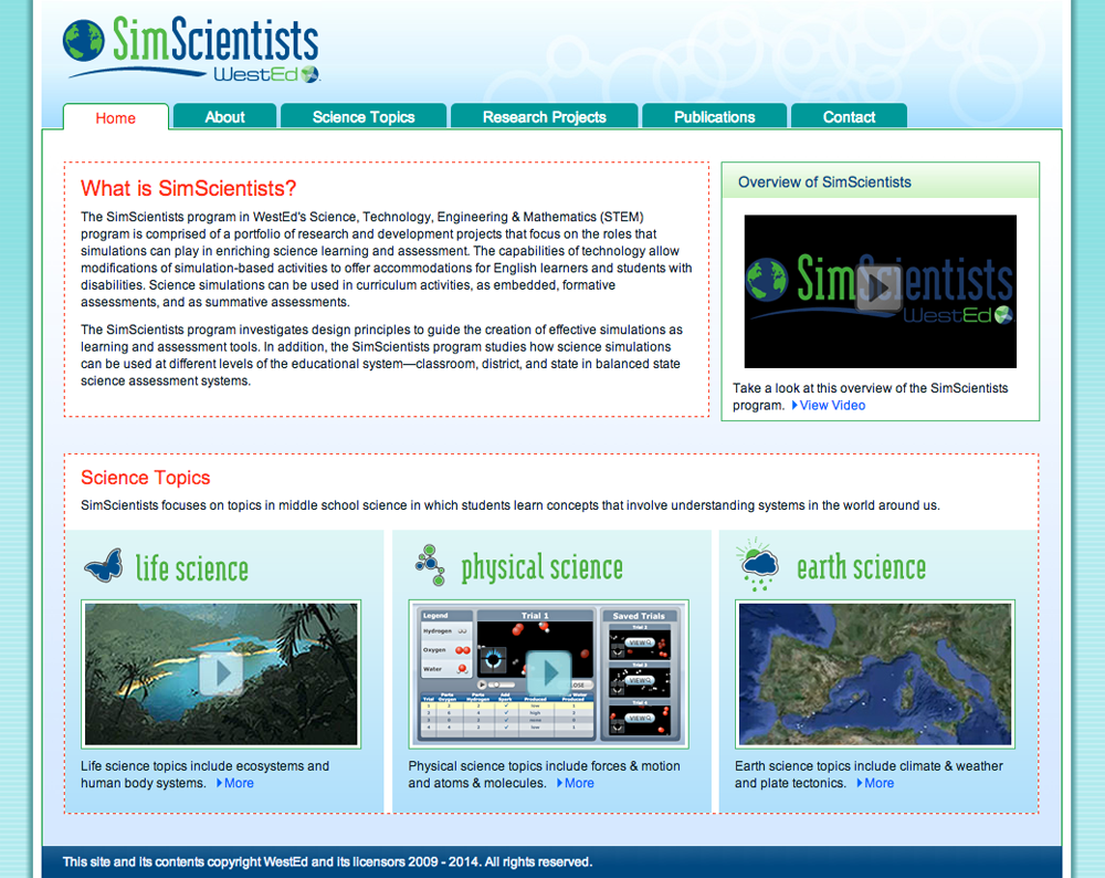screenshot of https://simscientists.org/home/index.php