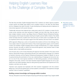 Cover image for Article: Helping English Learners Rise to the Challenge of Complex Texts