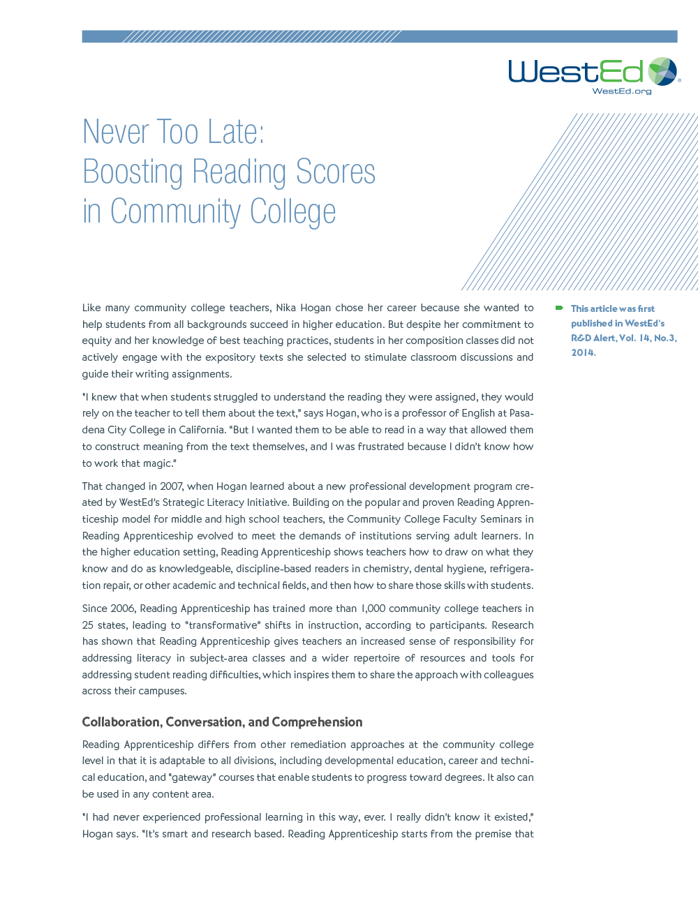 Cover image for Article: Never Too Late: Boosting Reading Skills in Community College