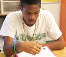 Photo of student reading