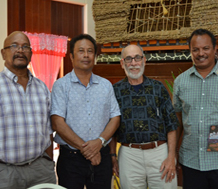 Photo of Antonio Bells, Vice President of Palau; Tommy Remengesau, President of Palau; Sussman; and Sinton Soalablai, Palau Minister of Education.