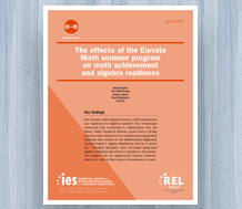 Cover for The Effects of the Elevate Math Summer Program on Math Achievement and Algebra Readiness