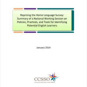 Cover image for CCSSO: Common EL Definition: Reprising the Home Language Survey