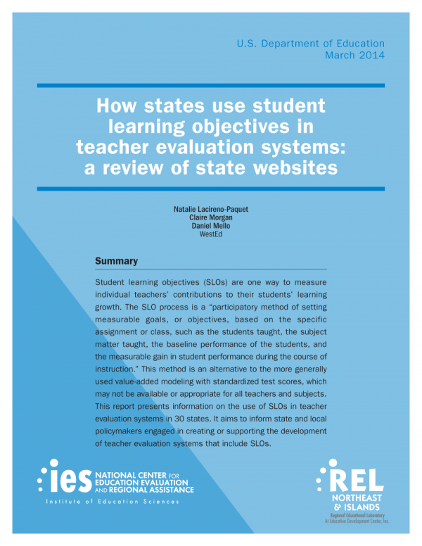 Cover image for How states use student learning objectives in teacher evaluation systems: a review of state websites