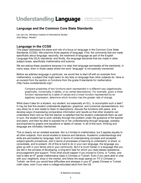 Cover image of Language and the Common Core State Standards