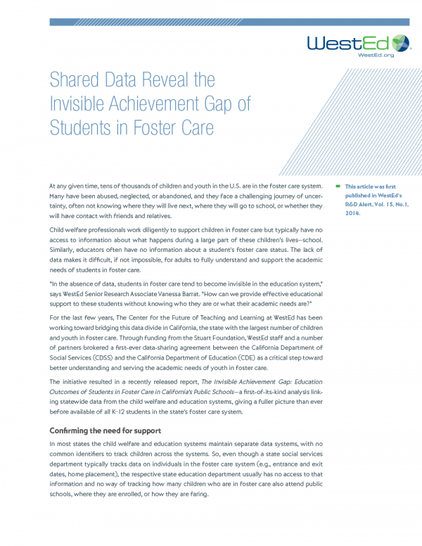 Cover image for Shared Data Reveal the Invisible Achievement Gap of Students in Foster Care Article RD-14-01
