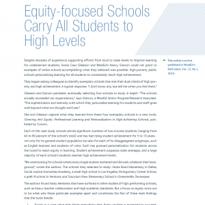 Cover image of Equity-Focused Schools Carry All Students to High Levels Article RD-14-01