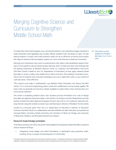 Cover image of Merging Cognitive Science and Curriculum to Strengthen Middle School Math Article RD 15.1