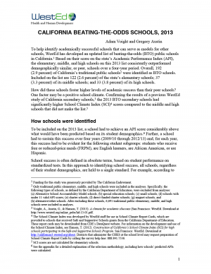 Cover image for California Beating-The-Odds Schools, 2013 Report