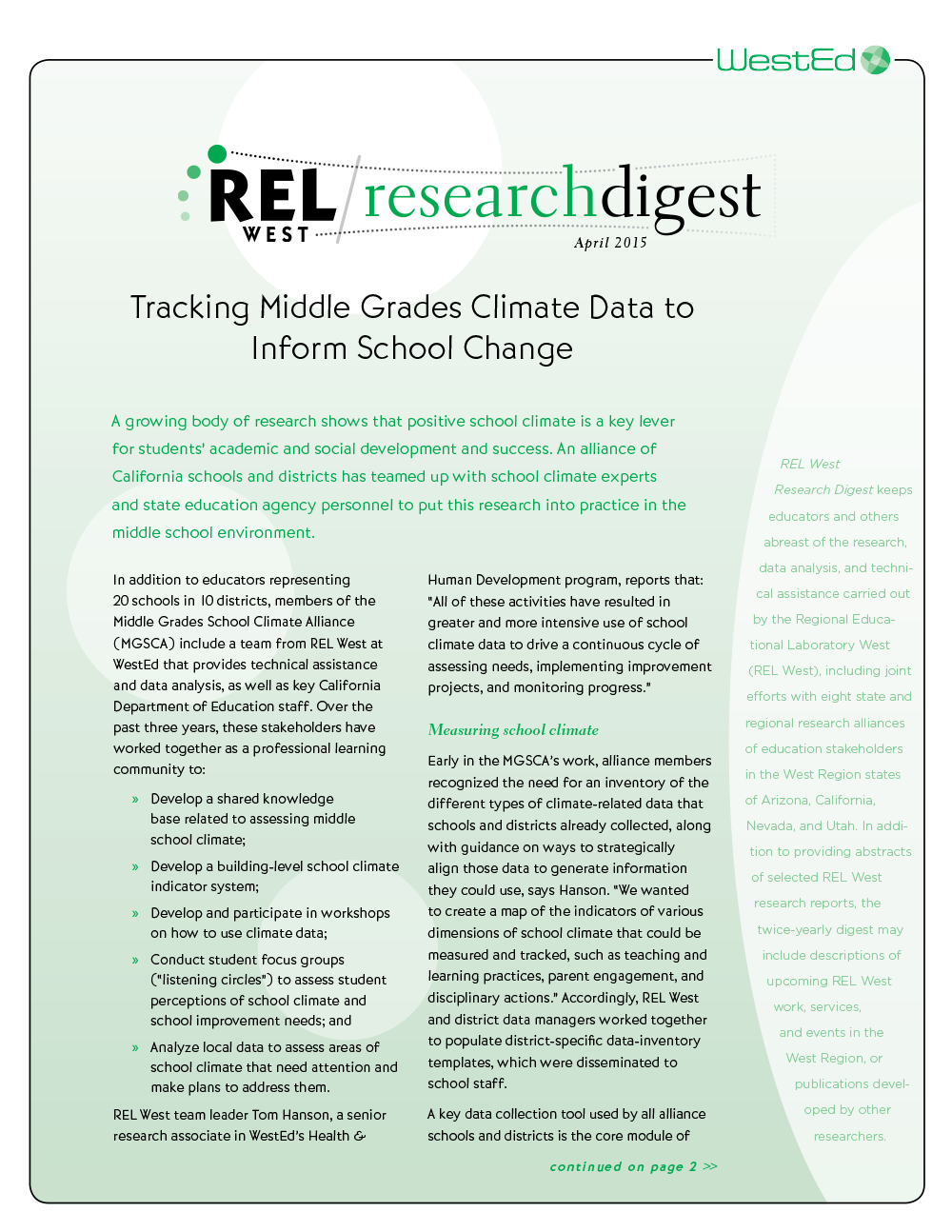 Cover for REL West Research Digest #14 April 2015