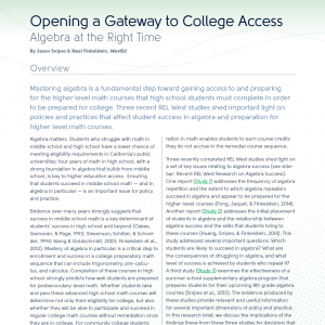 Cover for Opening a Gateway to College Access: Algebra at the Right Time