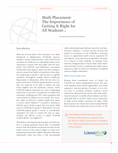 Cover image for Math Placement: The Importance of Getting It Right for All Students