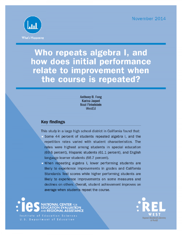 Cover image for Who repeats algebra I, and how does initial performance relate to improvement when the course is repeated?