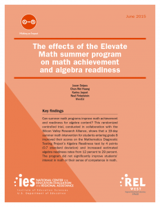 Cover of The Effects of the Elevate Math Summer Program on Math Achievement and Algebra Readiness