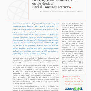 Cover image for Focusing Formative Assessment on the Needs of English Language Learners (Formative Assessment Report #5