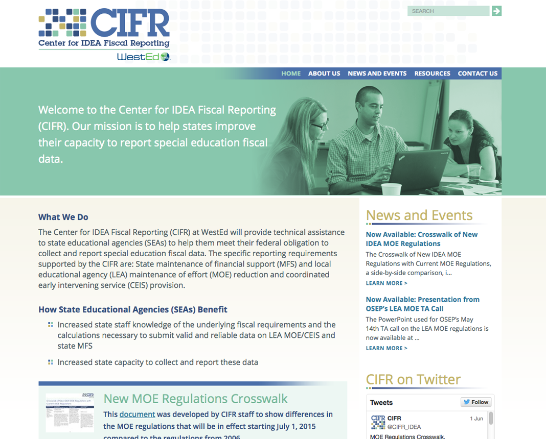 screenshot of https://cifr.wested.org/