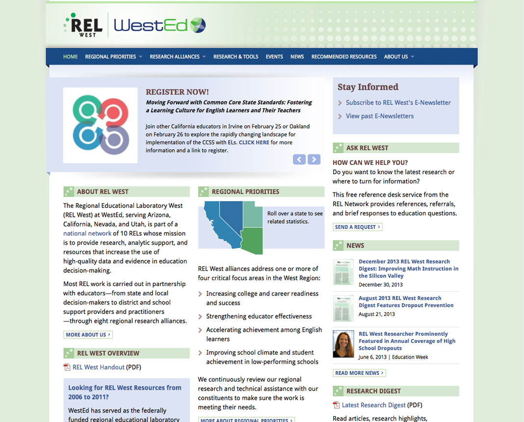 screenshot of https://relwest.wested.org/