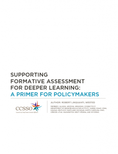 Cover for Supporting Formative Assessment for Deeper Learning